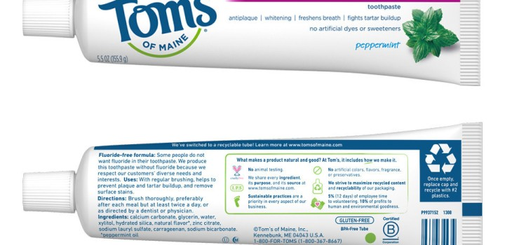Tom's of Maine shipping recyclable toothpaste tube