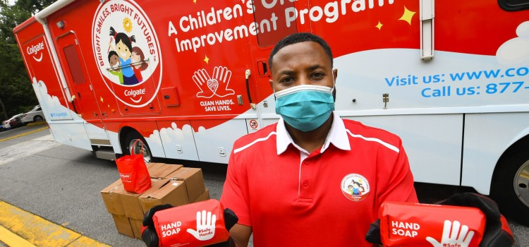 Colgate mobilizes its dental vans to distribute health and hygiene products