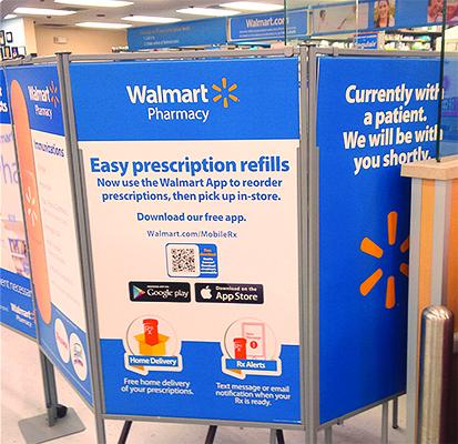 Walmart Rx refills sign