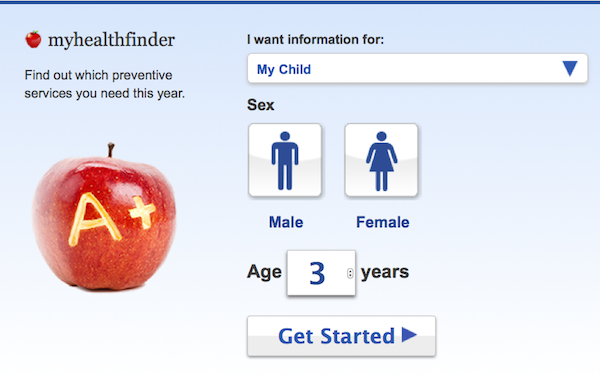 MyHealthFinder screen
