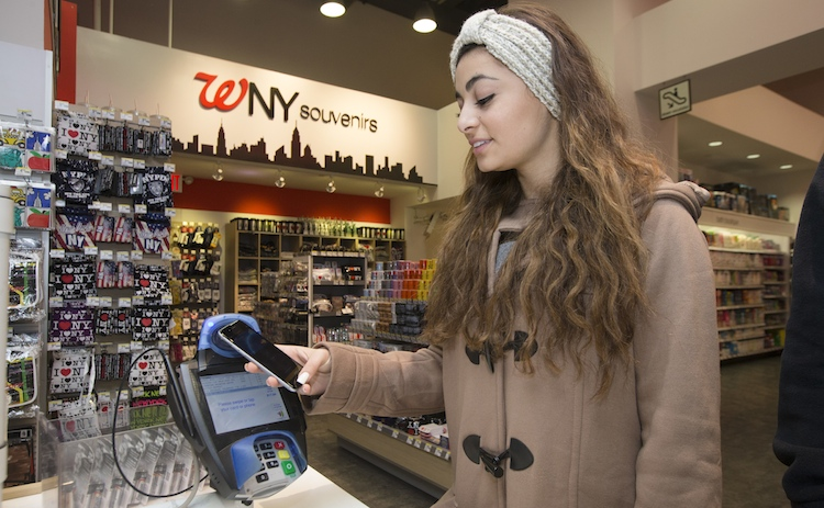 Apple Pay at Walgreens in New York's Time Square
