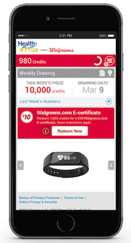 Walgreens HealthPrize mobile