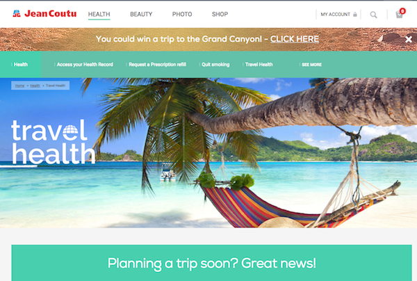 Jean Coutu travel health website