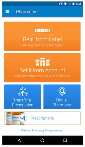 Walmart app pharmacy screen