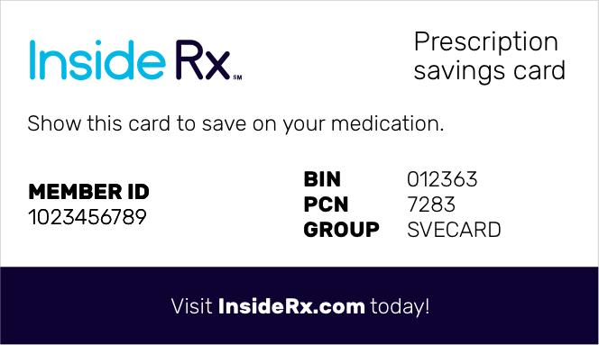 Inside Rx prescription savings card